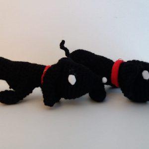 2x Takkie - zwart - rode halsband
